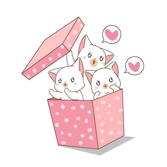 Gatos de kawaii mão desenhada na caixa rosa