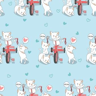 Gatos de kawaii sem costura com padrão de triciclo.