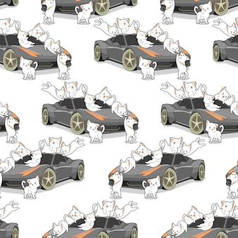 Gatos de kawaii sem costura e padrão de auto carro.