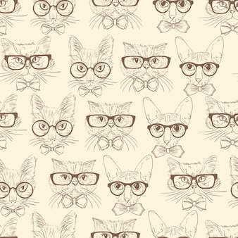 Gatos de mão desenhada sem costura padrão com acessórios hipster