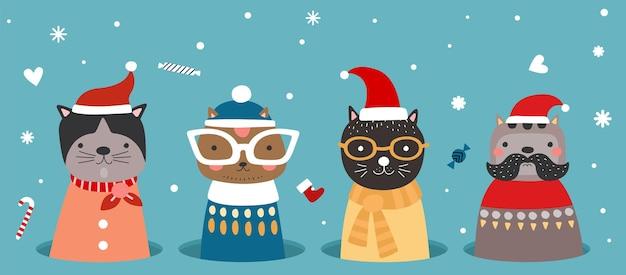 Gatos de natal no buraco. gatinho com roupas de inverno, chapéu de papai noel e lenços. banner de saudações de ano novo de natal de desenhos animados com doces de flocos de neve de bichinhos fofos. ilustração em vetor animais planos temporada de férias