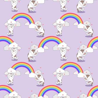 Gatos de padrão uniforme carregando arco-íris
