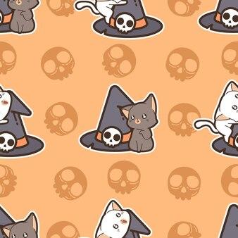 Gatos de padrão uniforme e chapéu de bruxa no dia de halloween