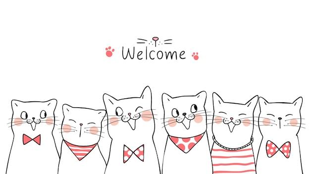Gatos de retrato banner fundo bonito doodle estilo cartoon