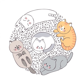 Gatos de rosto bonito dos desenhos animados, quadro de círculo doodle.