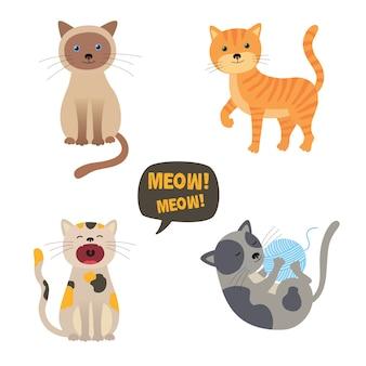 Gatos de vetor. definir caracteres. gato fofo. miau