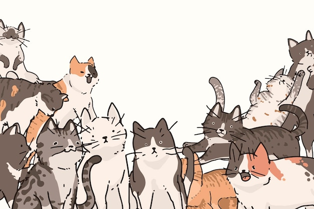 Gatos doodle padrão de fundo
