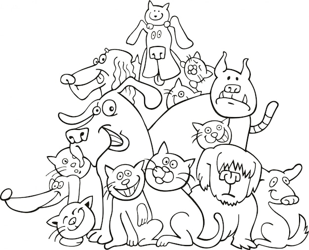 Gatos e cachorros para colorir