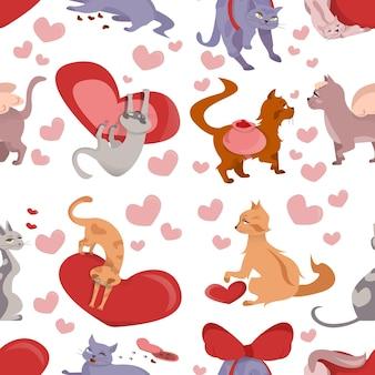 Gatos e corações em um fundo branco no dia dos namorados