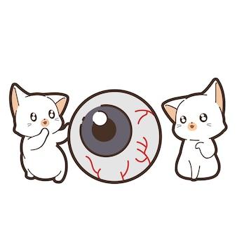 Gatos e olhos no dia do halloween