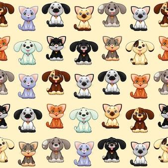 Gatos e os cães engraçados com fundo os lados repetir perfeitamente para uma possível embalagens ou gráfico