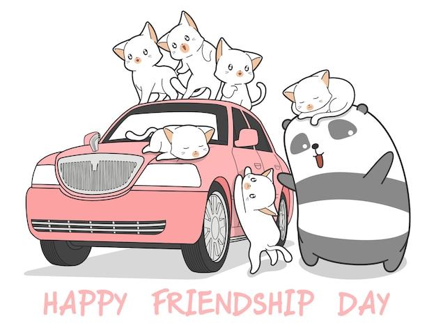 Gatos e panda tirados do kawaii com carro cor-de-rosa.