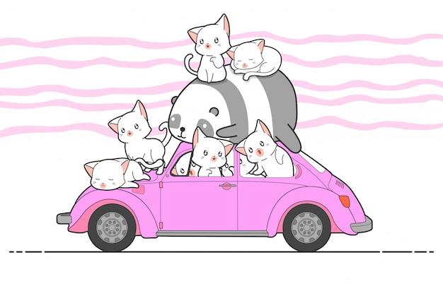 Gatos e panda tirados do kawaii com carro.