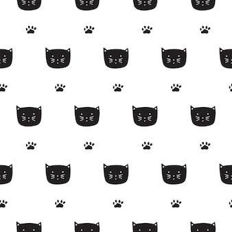 Gatos e patas de mão desenhada