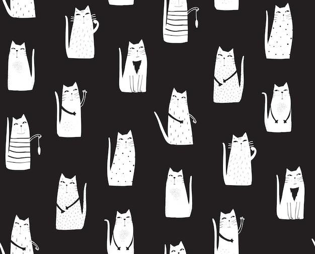 Gatos em fundo preto