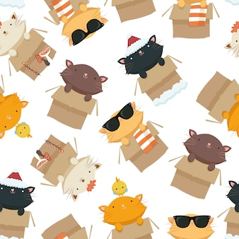 Gatos em um padrão sem emenda de caixa