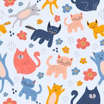 Gatos engraçados bonito animal sem costura padrão mão desenhada infantil fundo de desenho