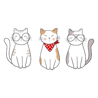 Gatos engraçados com óculos e uma bandama estilo de desenho animado ilustração vetorial adorável animal doodle