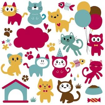 Gatos engraçados dos desenhos animados