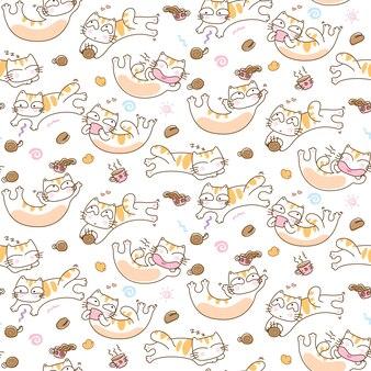 Gatos engraçados e café copa sem costura de fundo