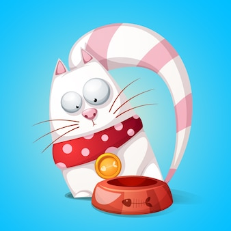 Gatos engraçados e fofos de personagem de desenho animado. o animal come da tigela.
