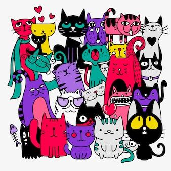 Gatos engraçados mão desenhada. ilustração de animais com gatinhos adoráveis doodle