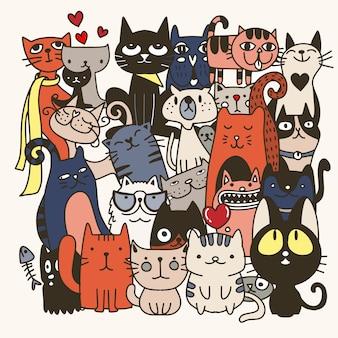 Gatos engraçados mão desenhada. ilustração de animais com gatinhos adoráveis.