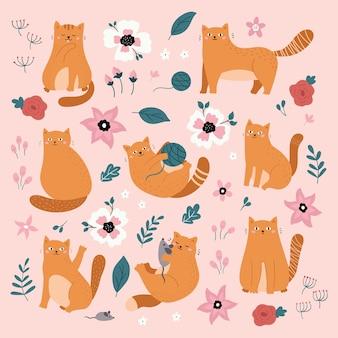 Gatos engraçados ruivos desenhados à mão com brinquedos e flores