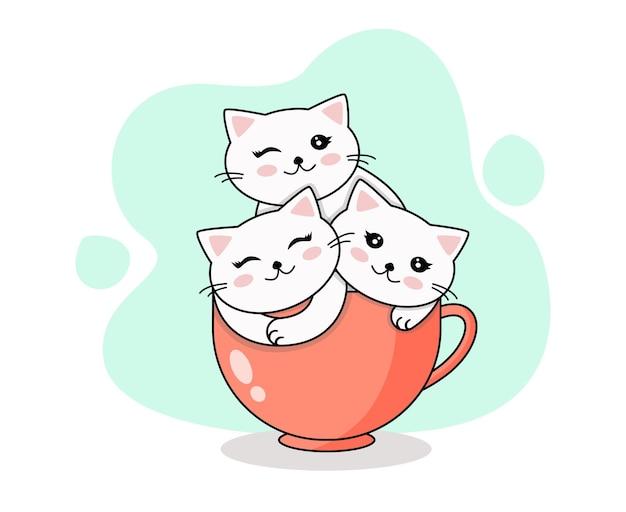 Gatos engraçados sentados na xícara ilustração vetorial