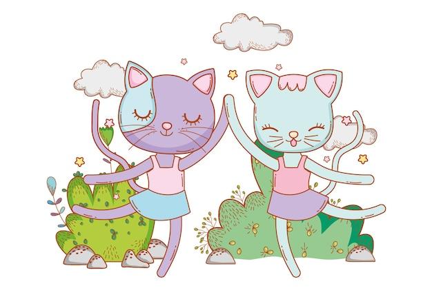 Gatos fêmeas dançando com nuvens e arbustos