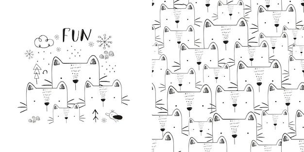 Gatos fofos, amigos da família, padrão sem emenda ilustração em vetor desenhada à mão pode ser usado para camisetas