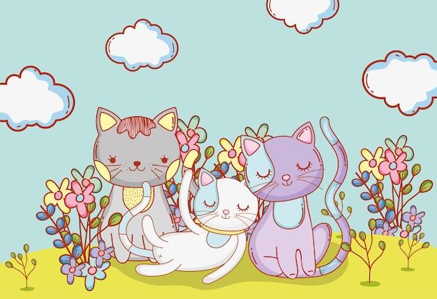 Gatos fofos animais com nuvens e flores