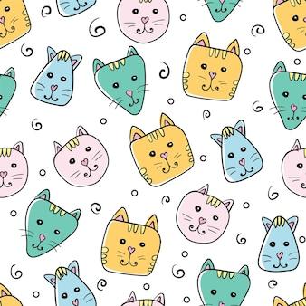 Gatos fofos coloridos sem costura de fundo - vários gatos fofos sem costura padrão