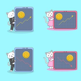 Gatos fofos com coleção de moedas