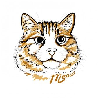 Gatos fofos com letras. miau texto, ilustração.