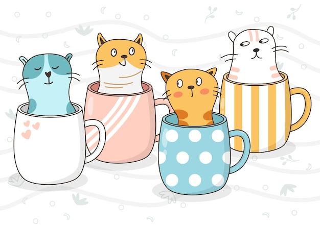 Gatos fofos e animais em um copo