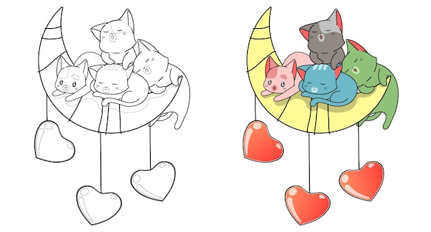 Gatos fofos e com a página para colorir dos desenhos animados da lua e dos corações para crianças