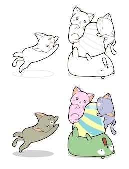 Gatos fofos e urso com desenho de desenho animado em forma de coração grande para colorir para crianças
