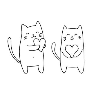 Gatos fofos segurando coração desenho de desenho vetorial no estilo doodle animais adoráveis dia dos namorados