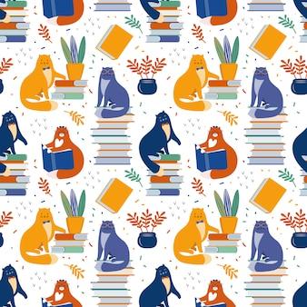 Gatos inteligentes ler livros entre plantas domésticas mão desenhada sem costura padrão