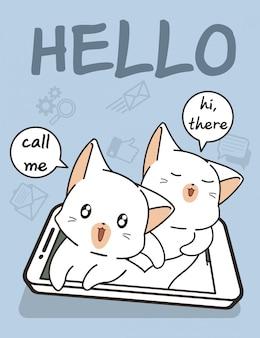 Gatos kawaii com tecnologia de telefone inteligente