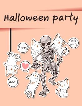 Gatos kawaii e esqueleto na festa de halloween