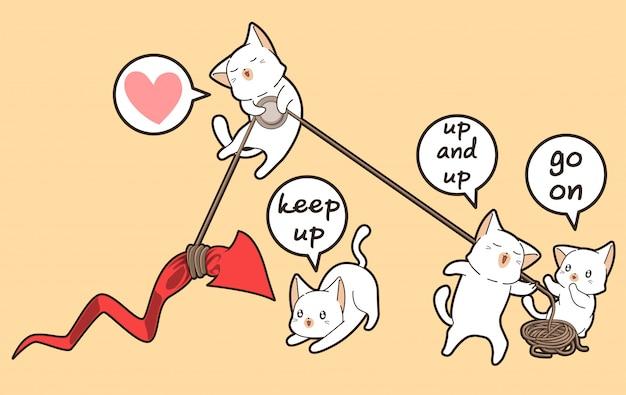 Gatos kawaii estão levantando a seta vermelha para cima