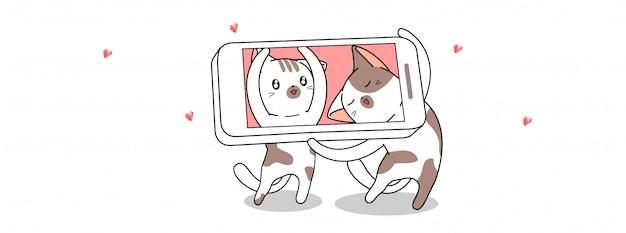 Gatos kawaii estão tirando foto com smartphone