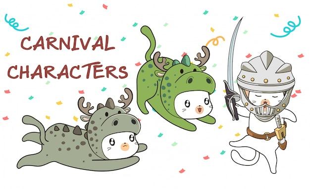 Gatos kawaii mão desenhada em traje de estilo medieval de carnaval