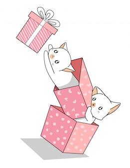 Gatos kawaii mão desenhada na caixa de presente rosa
