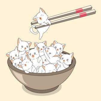 Gatos kawaii mão desenhada na tigela com pauzinhos