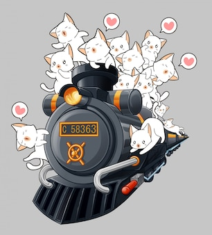 Gatos kawaii na locomotiva em estilo cartoon.
