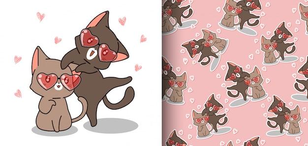 Gatos kawaii padrão sem emenda estão usando óculos de coração