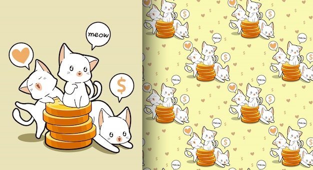 Gatos kawaii sem costura com um padrão de moedas de ouro